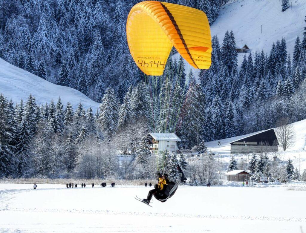 atterrissage parapente ski