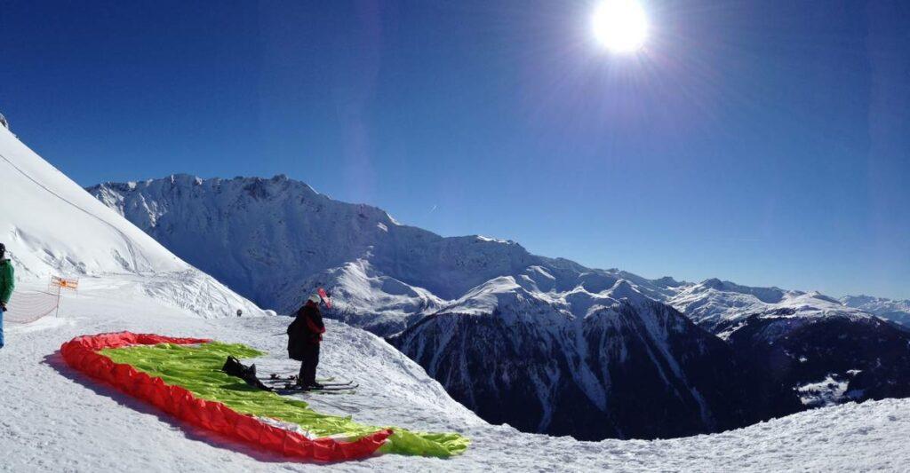 decollage ski parapente
